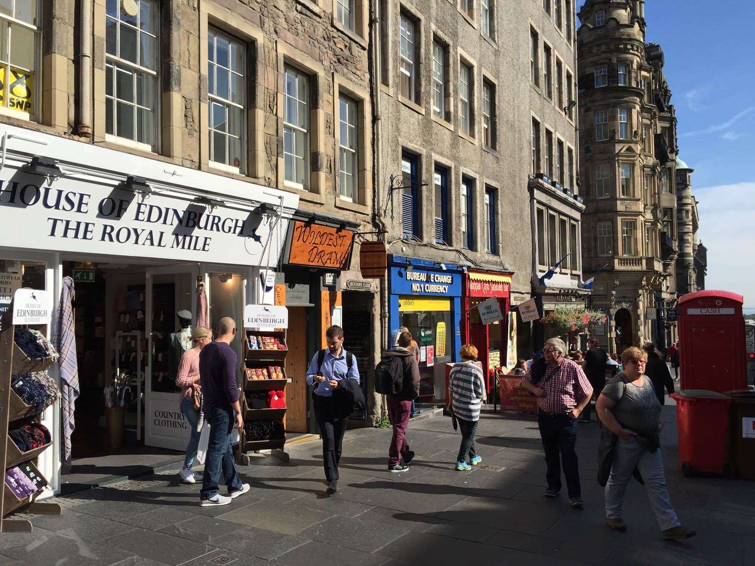 Edinburgh Scotland shops line the streets with kilts and other trasures