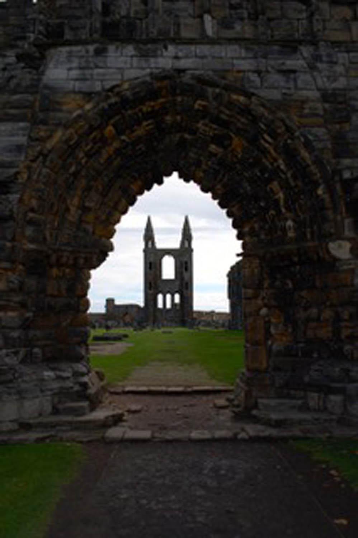 Edinburgh Scotland cemetery with rock archway