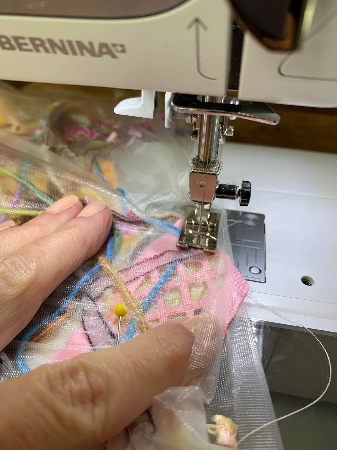 sewing machine thread-quilting the sandwiched layers of fiber bits and Sulky Solvy water soluble stabilizer