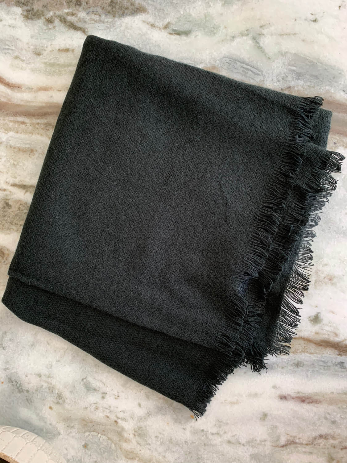 Pre-made purchased black woven shawl