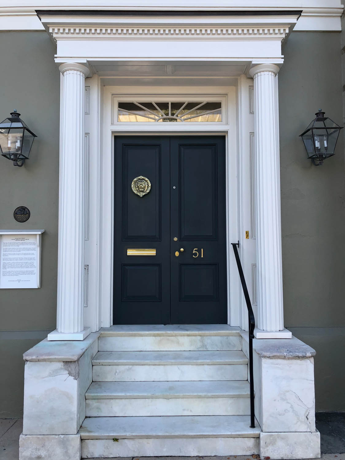double door entrance into charleston home