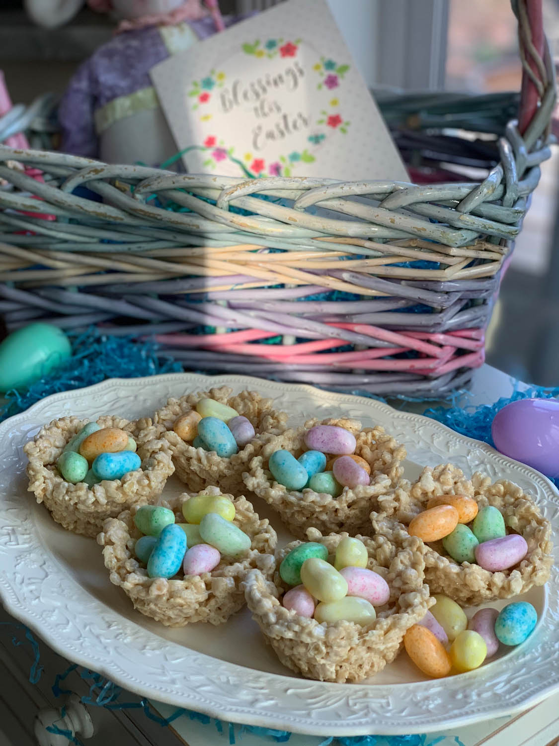 "Easter ""nests"" made from Rice Crispy Treats recipe filled with candies"