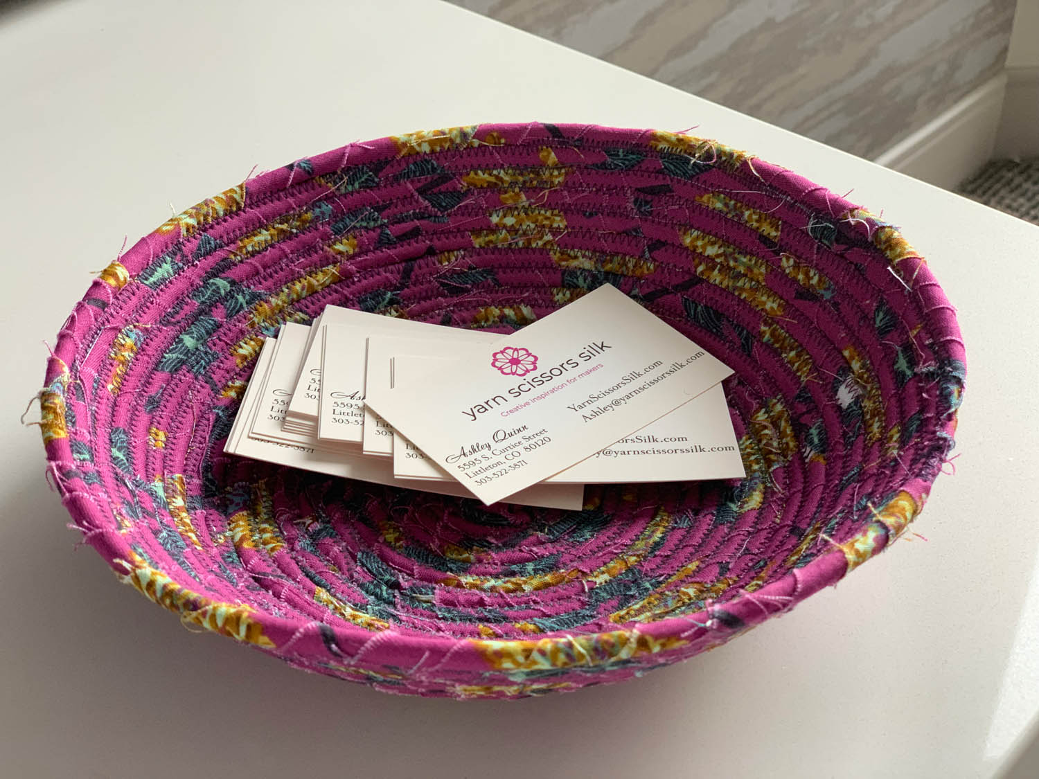 completed fabric rope bowl made at Craftcation