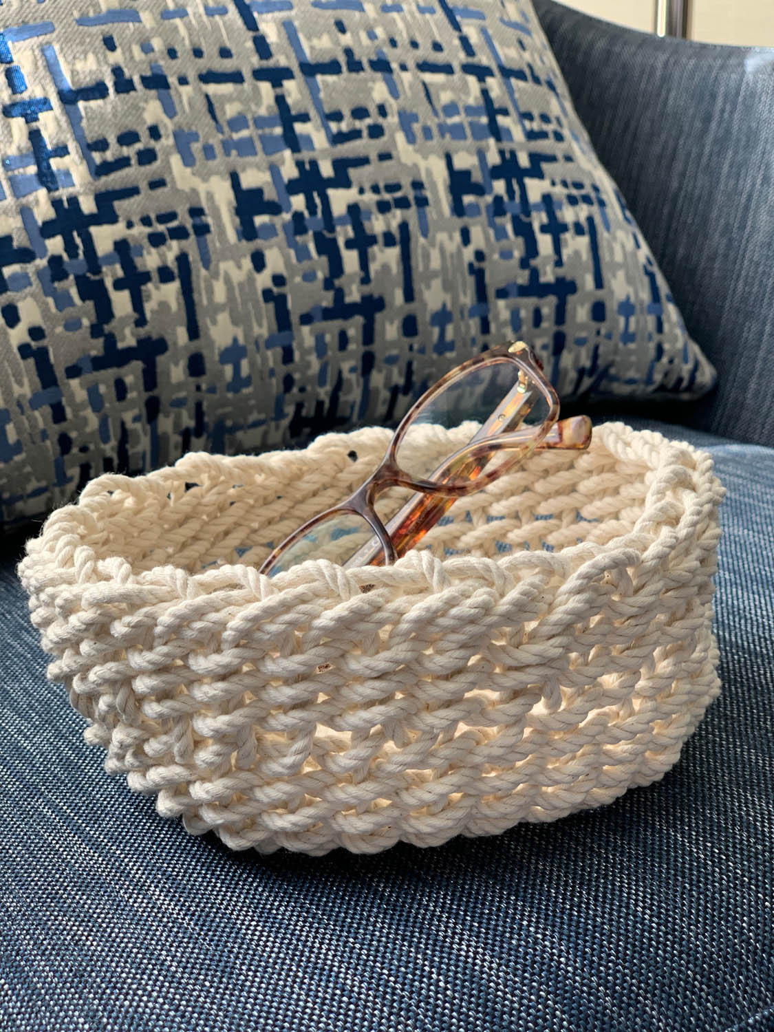 Completed woven bowl made at Craftcation