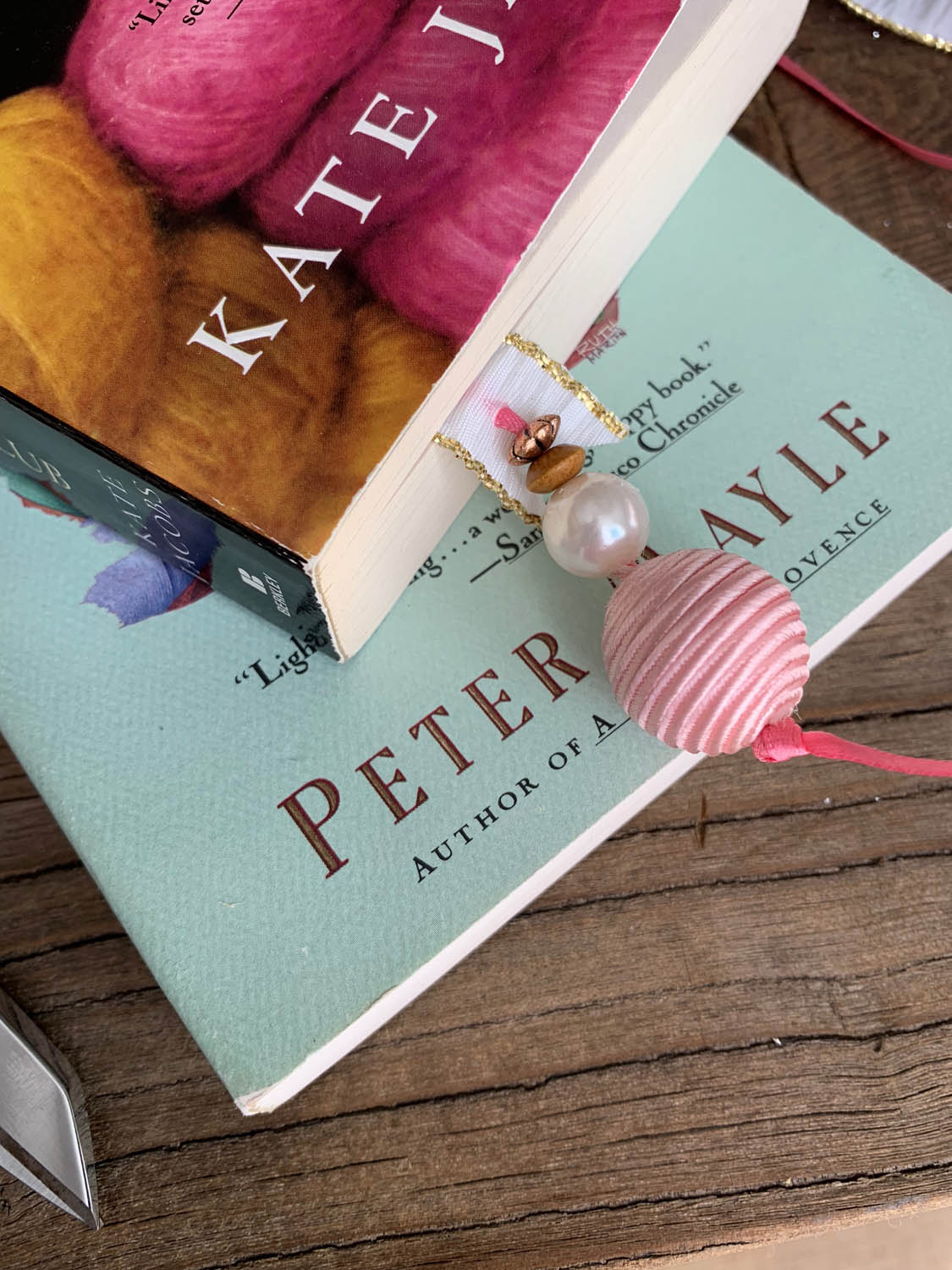 bookmark with beads in book