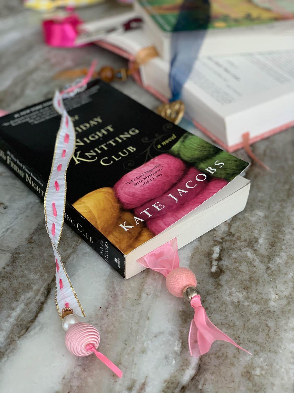 books with handmade ribbon beaded bookmarks