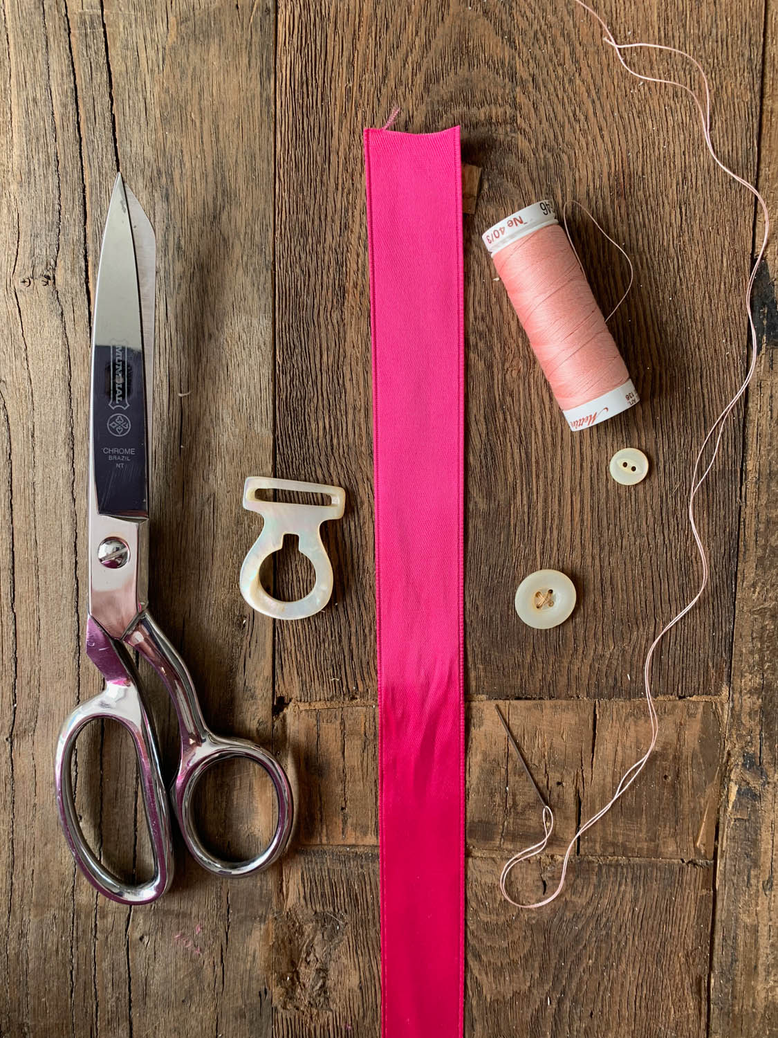 supplies for making handmade bookmarks with ribbon buttons and beads