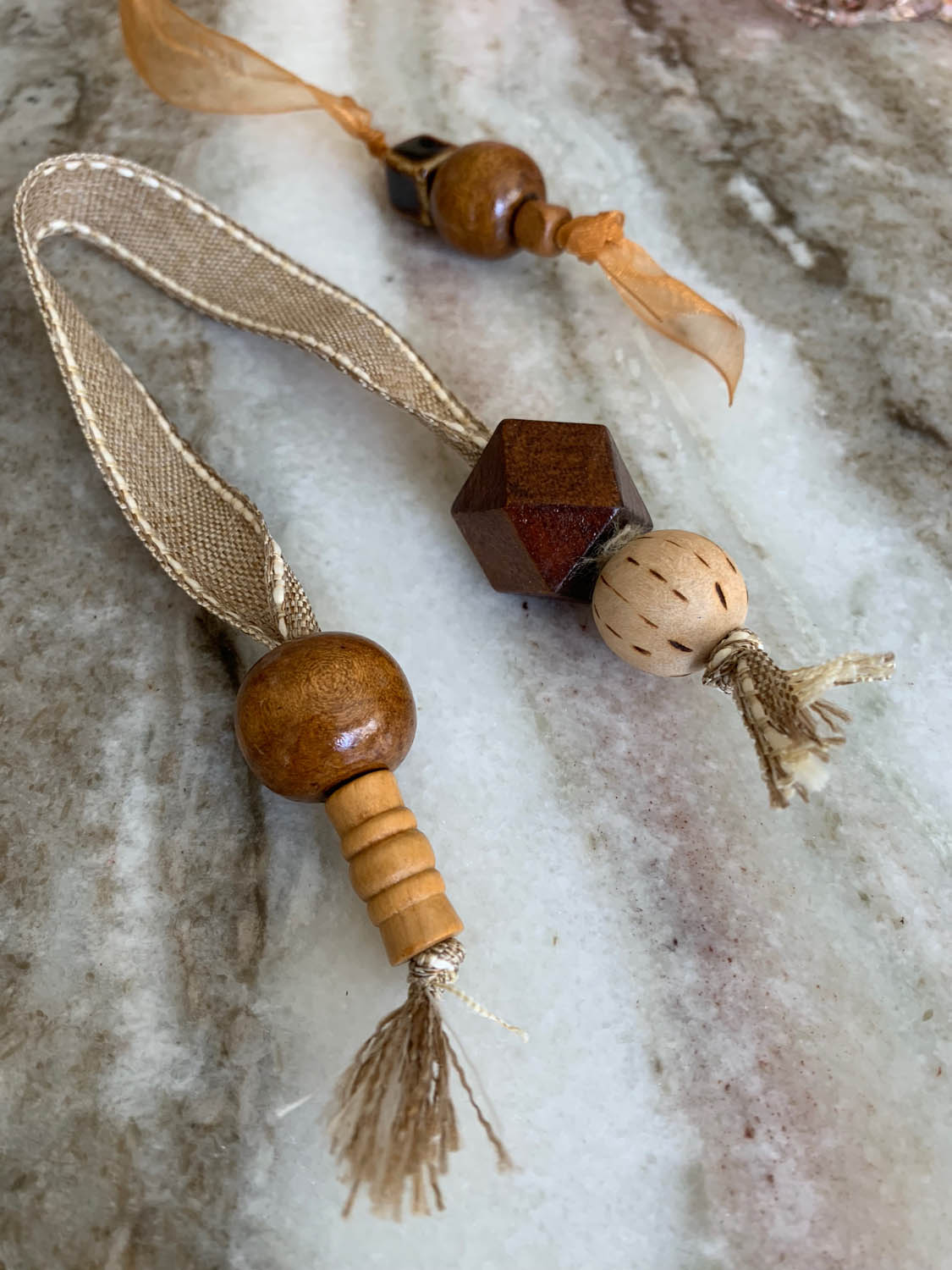 wooden beads on ribbon lengths