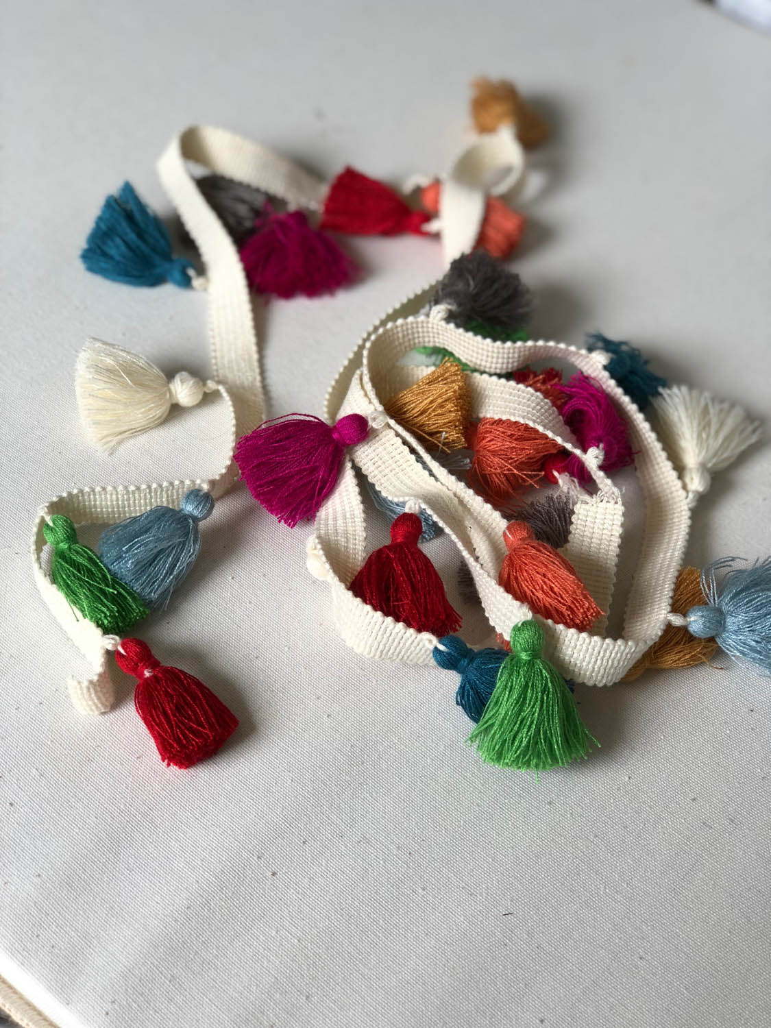 colorful purchased tassel trim