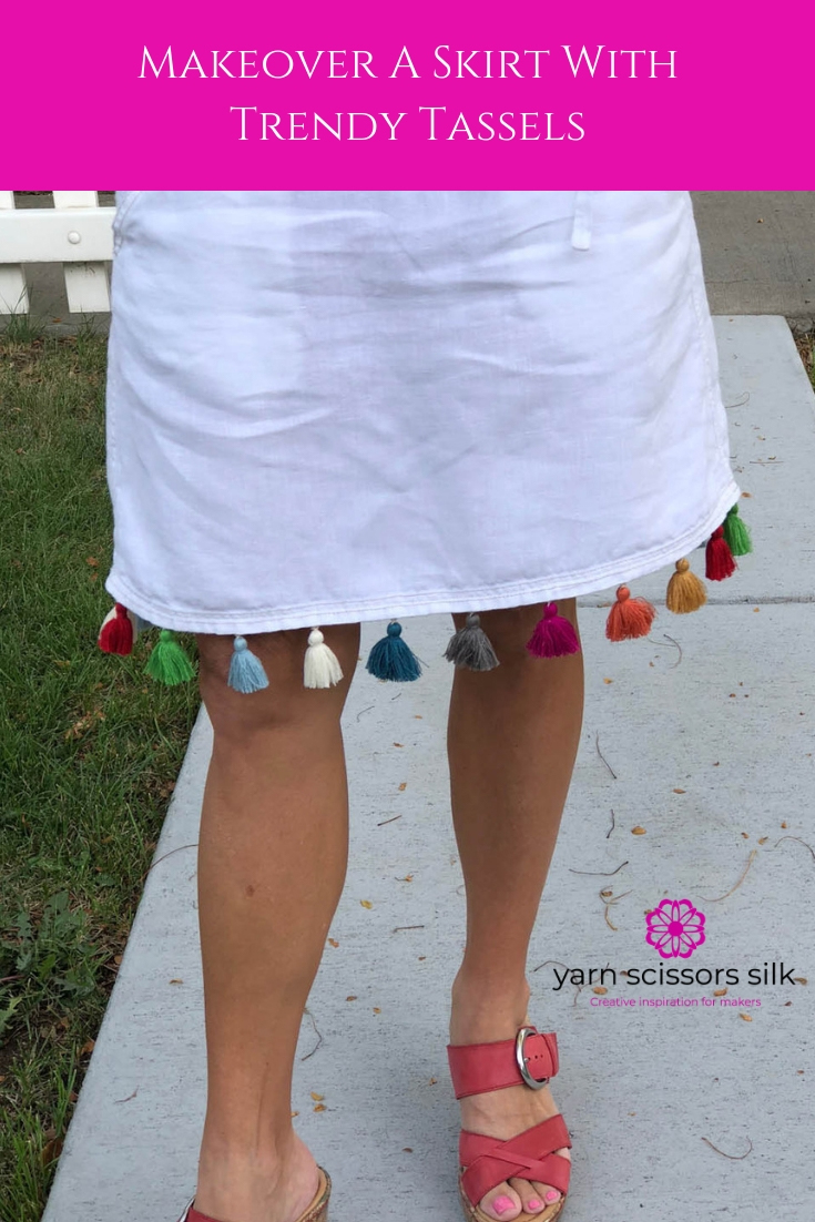Makeover a skirt with trendy tassels - step-by-step photo how-to tutorial at Yarn Scissors Silk.