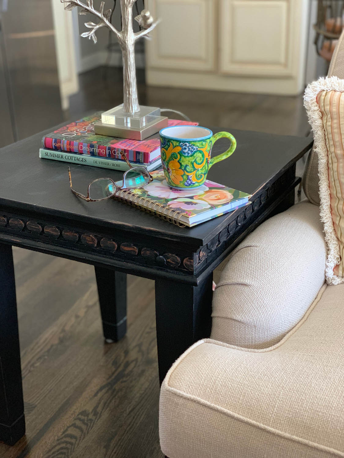 Upcycled homemade chalk painted end table