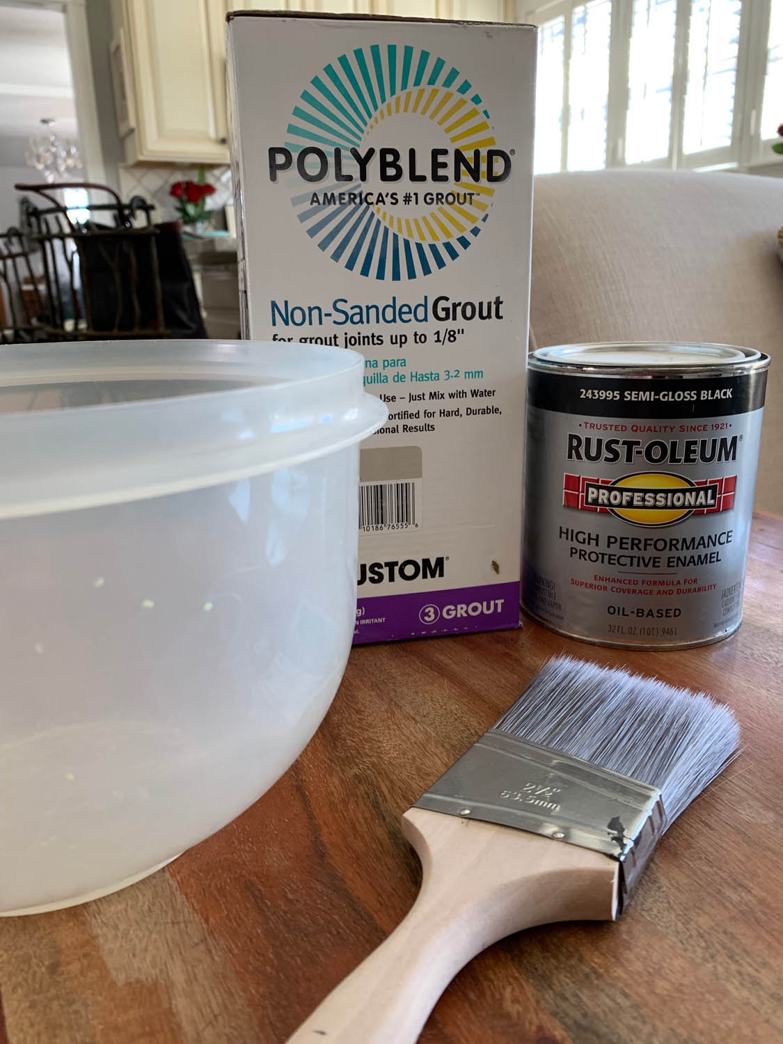 supplies to make homemade chalk paint recipe bowl leftover paint non-sanded grout and paintbrush
