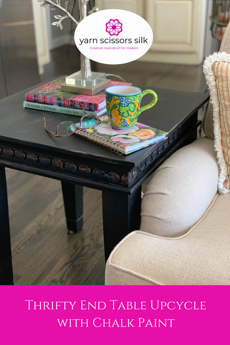 Thrifty end table upcycle with homemade chalk paint at Yarn Scissors Silk