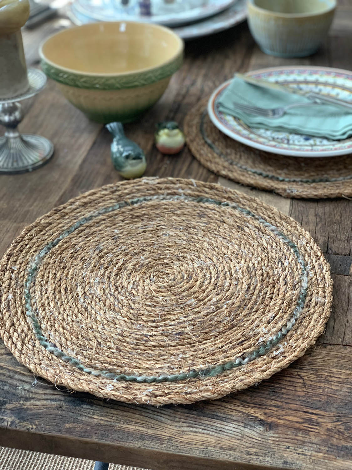 DIY rope placemat on rustic dining room table surface