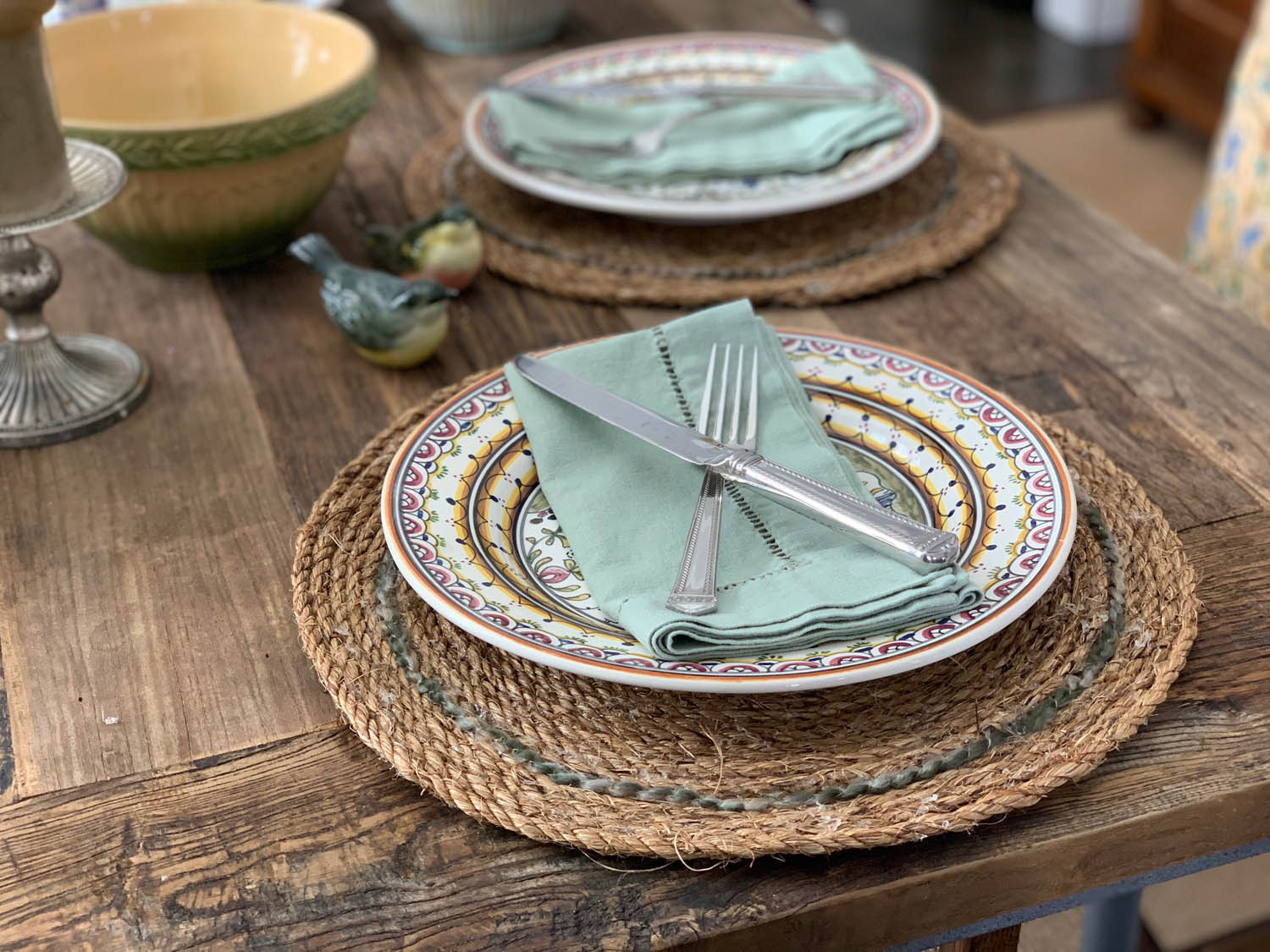 Rustic farmhouse table setting with hand made rope placemat