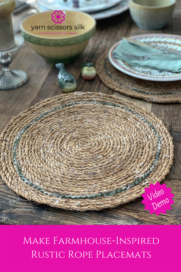 Learn how to make farmhouse-inspired rustic rope placemats with rope from the hardware store and a glue gun!
