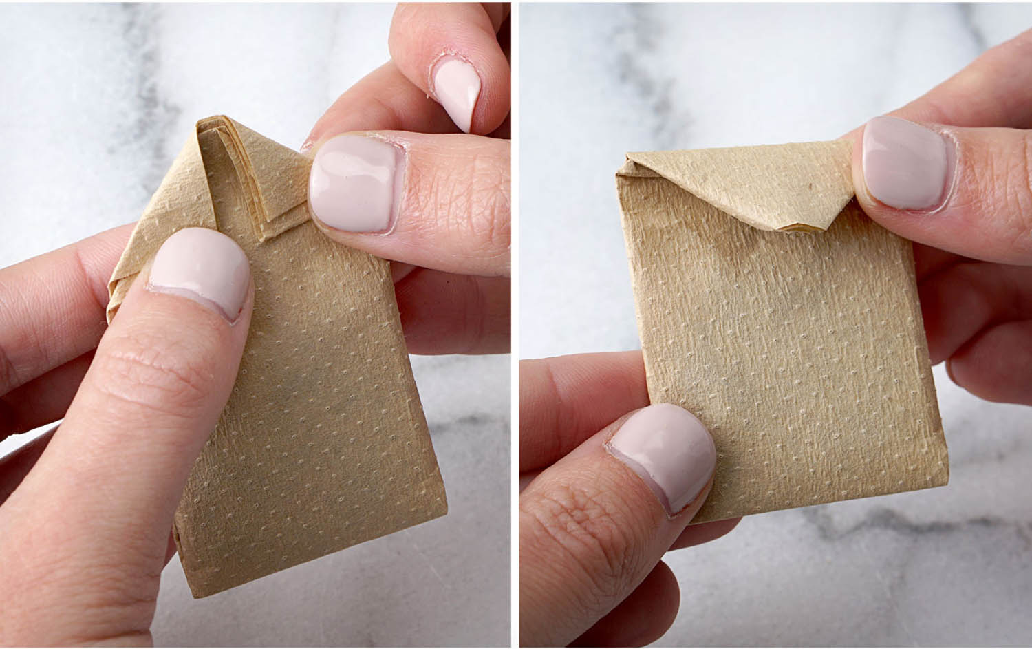 Folding the corners of the DIY tea bag to prepare it for the string