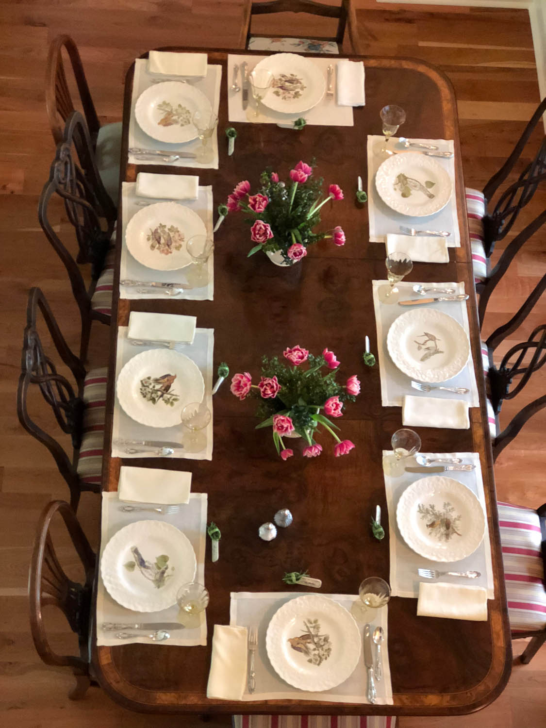 Overhead view of dining room table setting