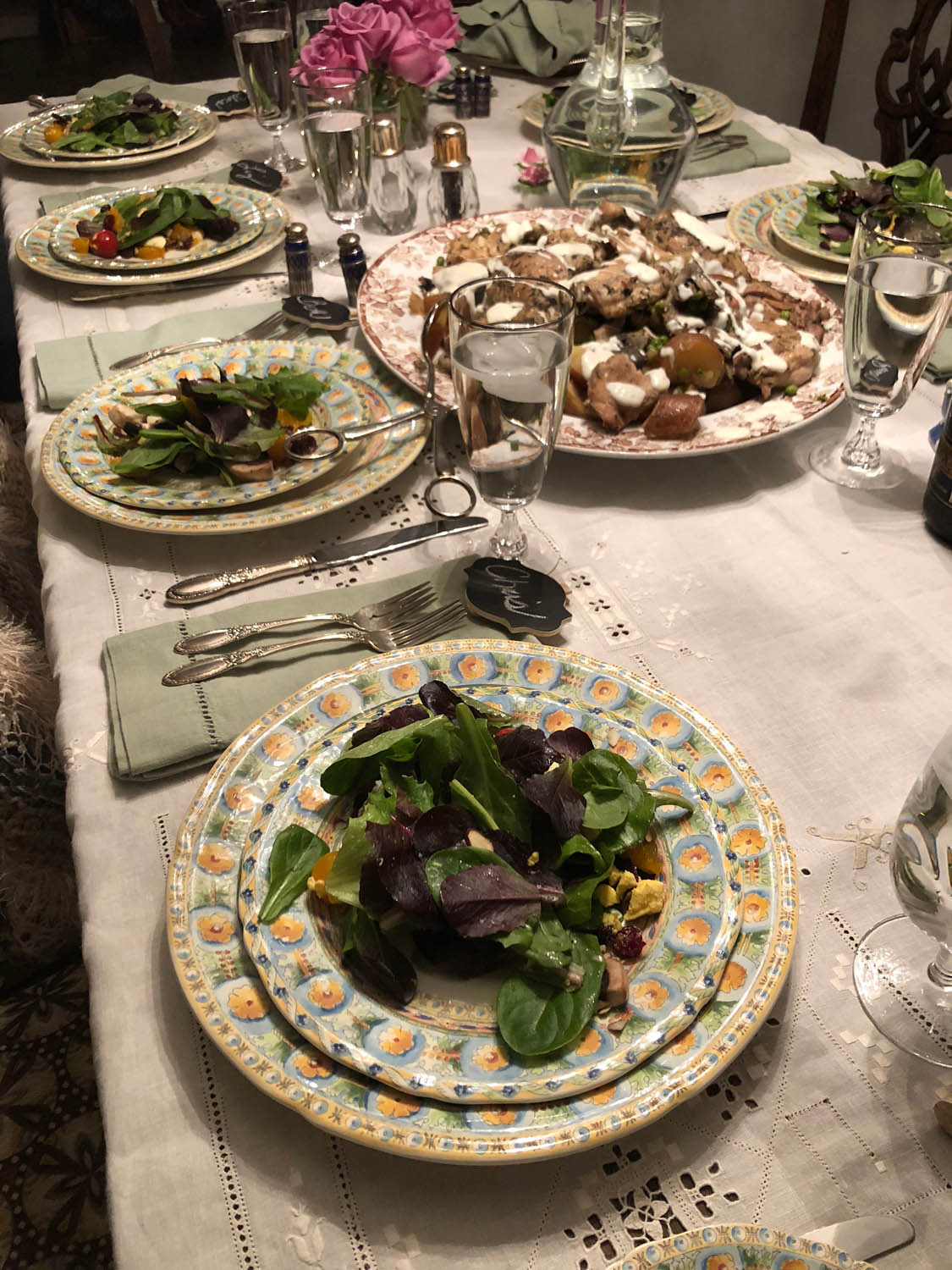salads on fine china at a dining table for dinner party