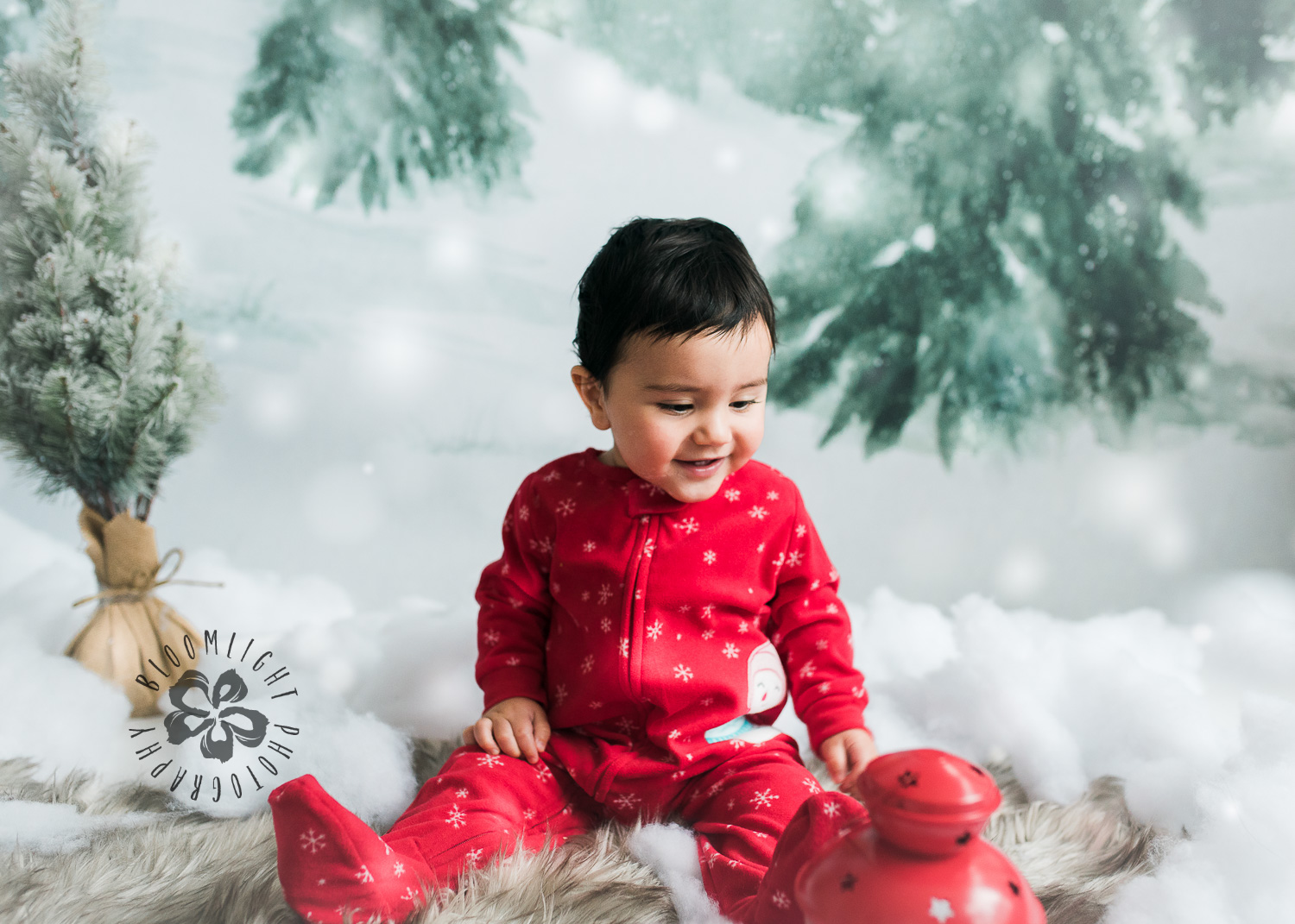 Toronto baby boy in a Christmas theme photo