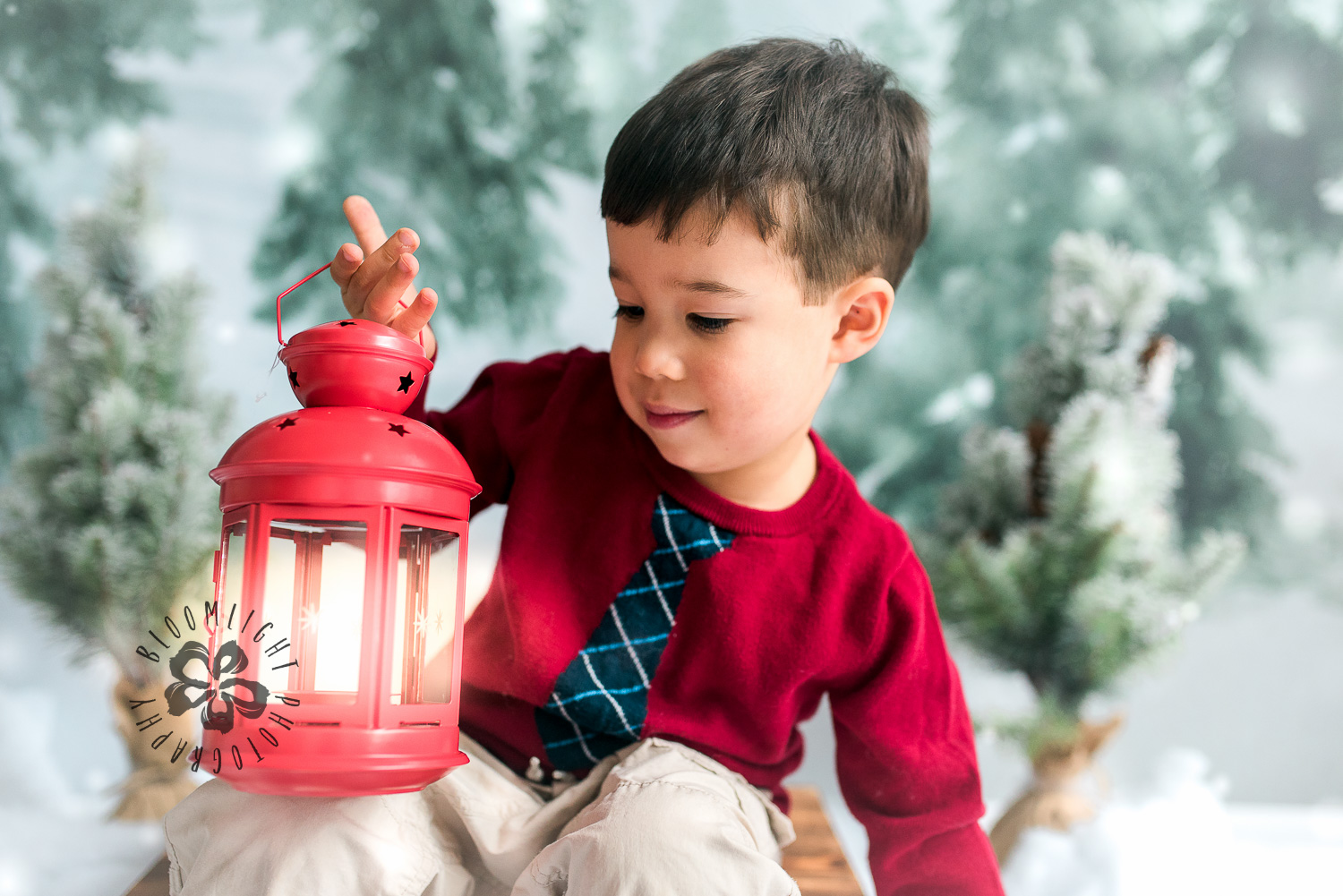 Toddler boy holding Lantern in a Christmas photo