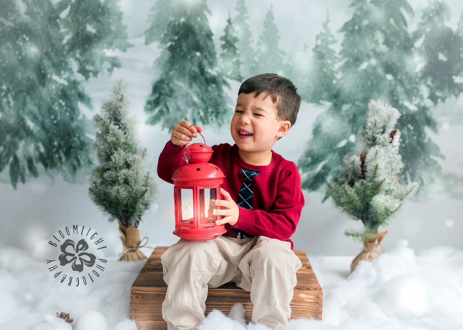 Photo of a kid laughing while holding a red lantern, North York