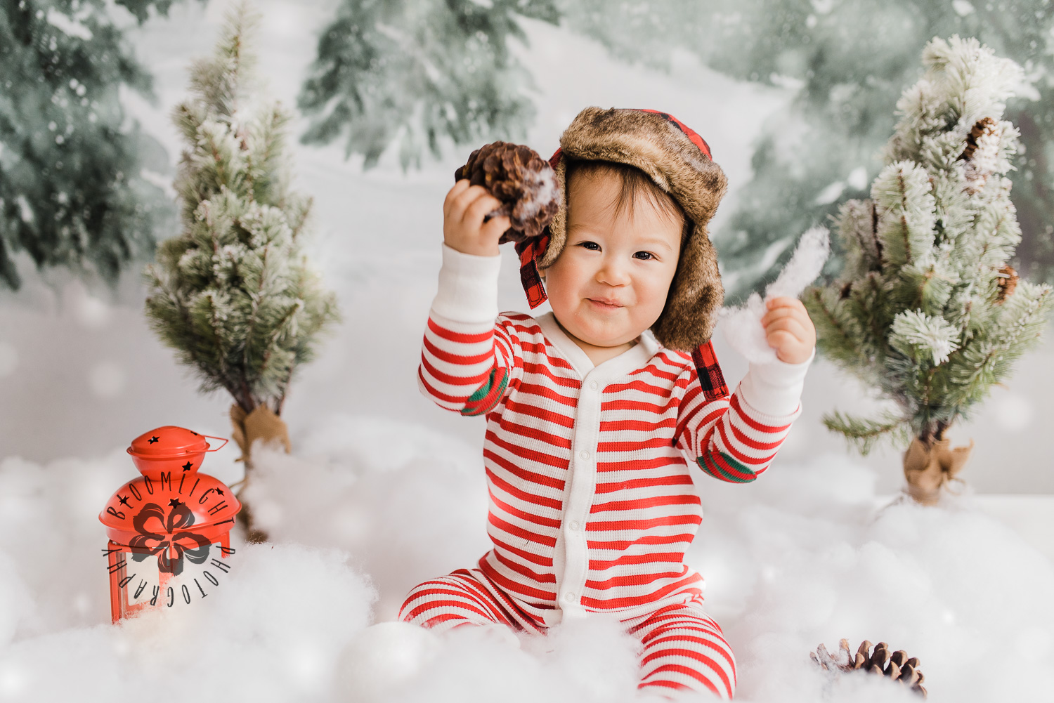 Christmas photo of a baby boy holding pine cone