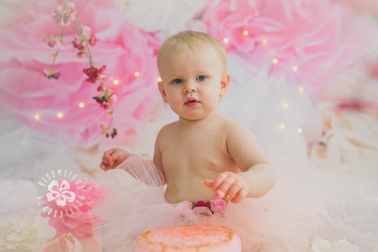 North York and Toronto baby birthday cake smash photo with Spring and blossom theme (8).jpg