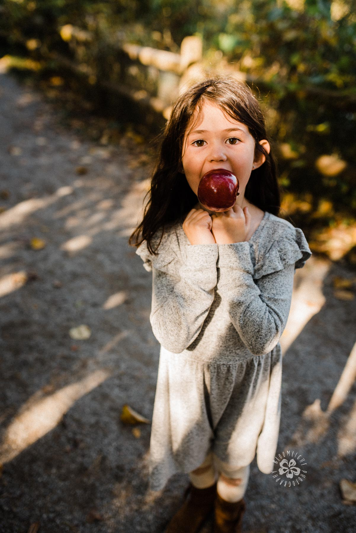 A playful girl holding a red apple in her mouth