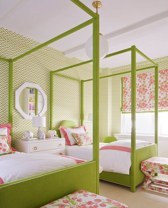 You can never go wrong with a pink and green combo. It especially looks nice in a child or teens bedroom. There is a lot of balance distributed thru out this room with both colors. White always seems to make the colors around it pop and add contrast.