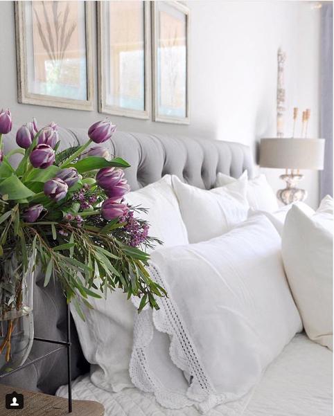 Bedroom, bed, linen, bedding, lighting, lamps, table lamps, flowers, art design, interior design, white paint, light room, color.png