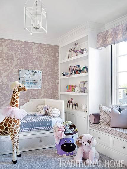 This childs room, could easily be a babies room with a crib on the other side. There is a place for grandma or mom to sleep and keep a close eye on their newborn. The color palette is soothing, but interesting. The rooms pattern placement was carefully considered and brings a lot of balance in placement.