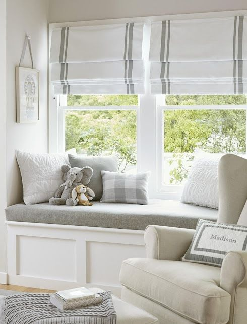How pretty is this and such a soothing color palette. Love how the outdoors captures your eye and the bench seat invites your to sit and read there with your child. The rocking chair looks very comfortable and I think this is a must have. The good ones run around 11-1800 dollars, but are so worth it!