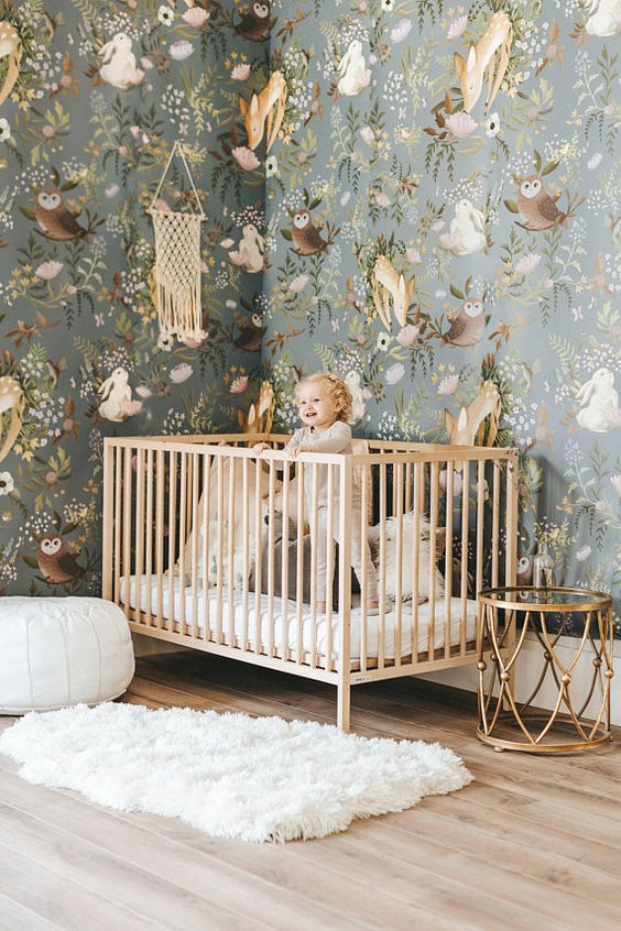 I'm a big believer in wallpaper and have always been the last 10 years of doing interior design! Here is an amazing room that the wallpaper has a huge impact on the design. This wallpaper brings cheer and happiness to anyone walking in and will change your mood into a positive one with the whimsical creatures dancing on the walls!