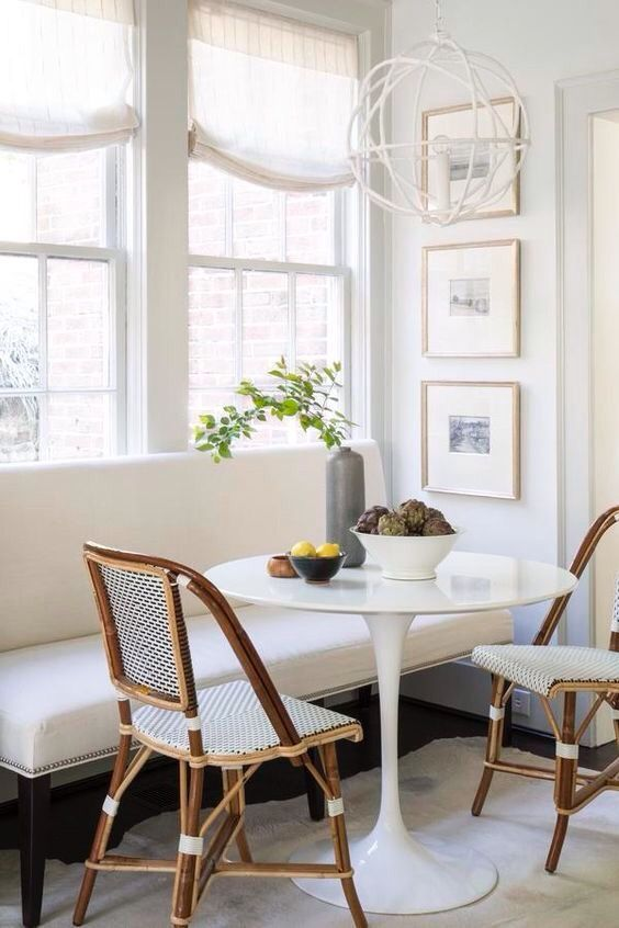 Breakfast Nook | Dining Room | Seating | Table | Bench Seat | Art | Lighting | Comfortable Seating | Bistro Chairs | Traditional Design White Room | Interiors | Interior Design | Interior Design By Tiffany | Costa Mesa | California.jpg