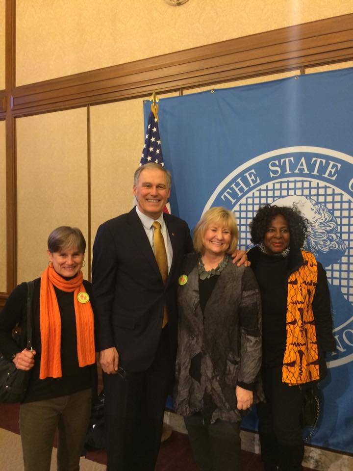 Sue Cary and Winona Hollins-Hauge with Gov. Inslee and First Lady Trudy Inslee
