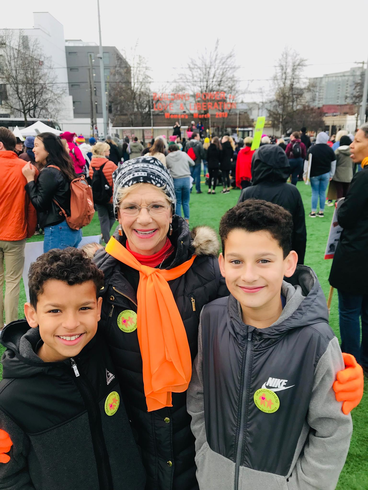 Grandmothers member Mary Manzin with her grandchildren! Here's to generations for gun safety!