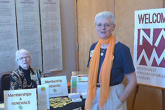 Membership Chairs  Donna Stringer  and Paula Salewsky, always welcoming new members!