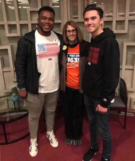 Robert Greenwood (legislative committee member) with students involved in March for Our Lives