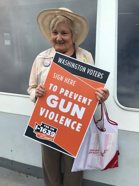 Grandmothers Member Connie Hellyer volunteering for YES ON I-1639