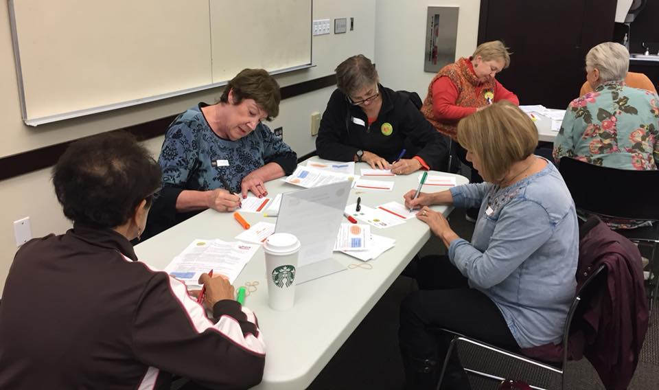 Busy writing our personal messages — with  Loretta McIver ,  Debbie McDonald  and  Jaclyn Silverman Saunders .