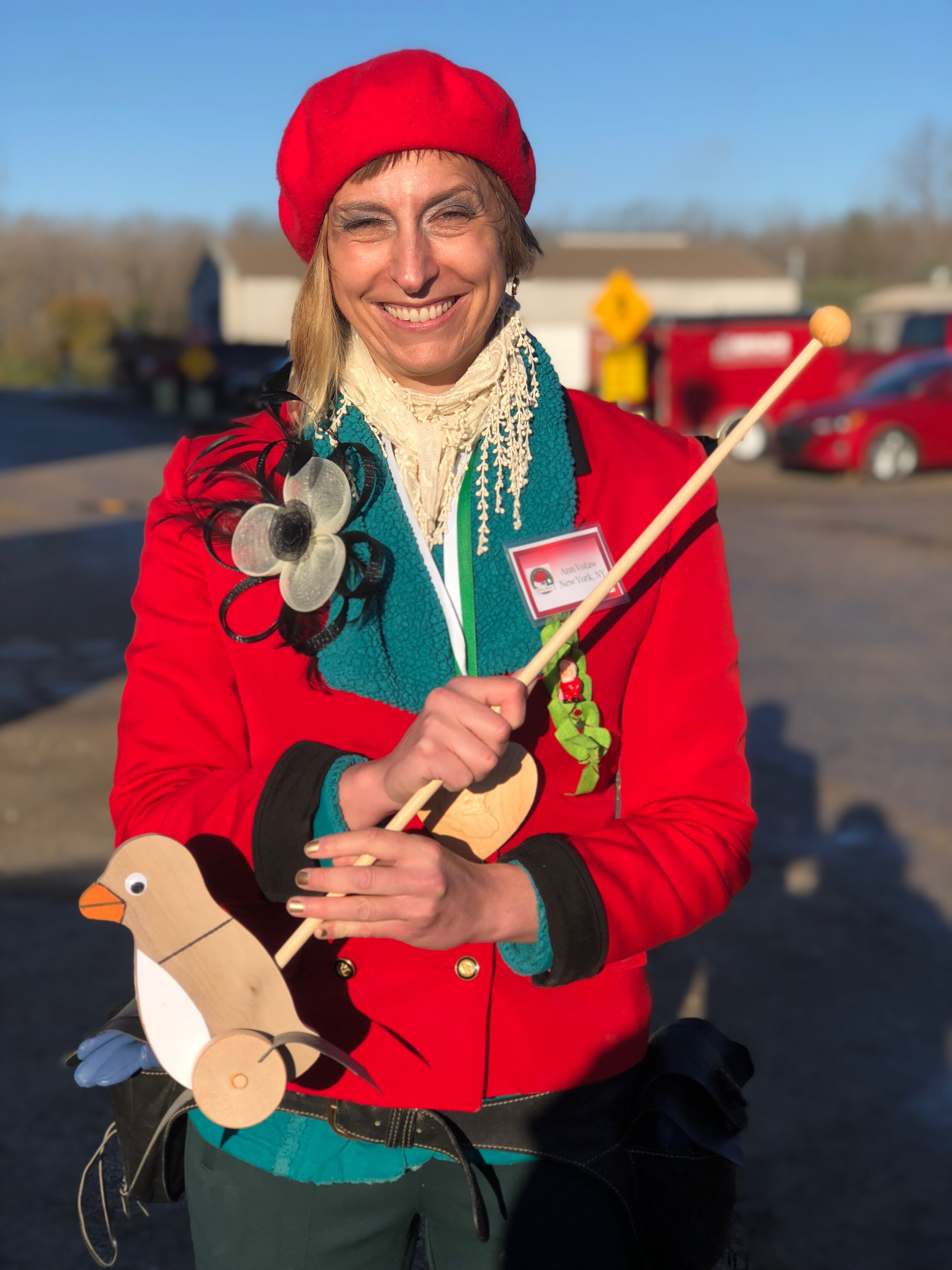 Ann Votaw the author holds the toy duck she made at Santa school in Midland, Michigan in October 2018..JPG