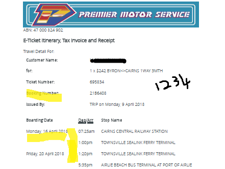 Premier Motor Service Bus Ticket