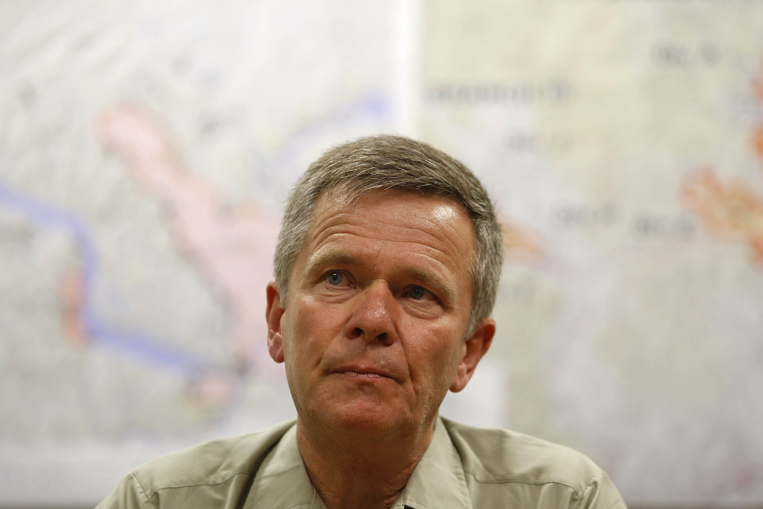 John Phipps, lead of the Coordinated Response Protocol, discusses limited details pertaining to the three firefighters who lost their lives in the Twisp River Fire, at the Okanogan-Wenatchee National Forest Headquarters in Wenatchee, Wash., Sunday, Aug. 23, 2015.