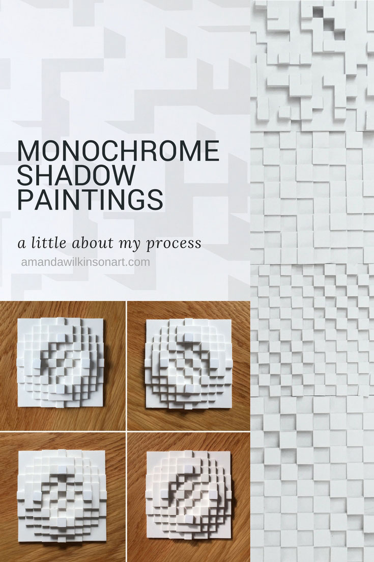 How my monochrome shadows paintings came about - it was almost by accident - and the process I use to design and produce them | Amanda Wilkinson Artist | www.amandawilkinsonart.com