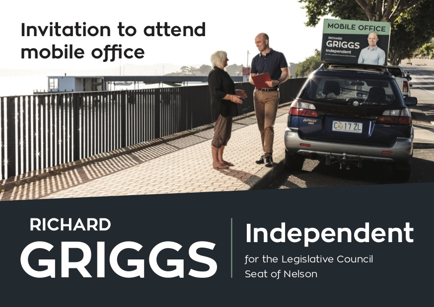 - Each Saturday I will be holding a mobile office. Please come along to say hello and let me know the issues that are on your mind.Details:Held every Saturday 10am - 11am at Kingston Beach (Osborne Esplanade) and 12noon - 1pm on Sandy Bay Road (corner Waimea Ave).