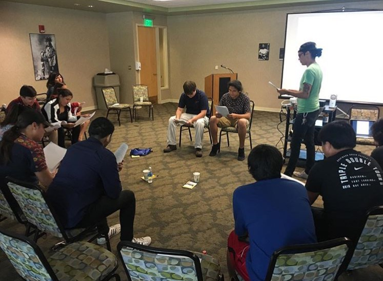 Shane leading a youth workshop for the Saginaw Chippewa Tribe in Mount Pleasant, Mi.