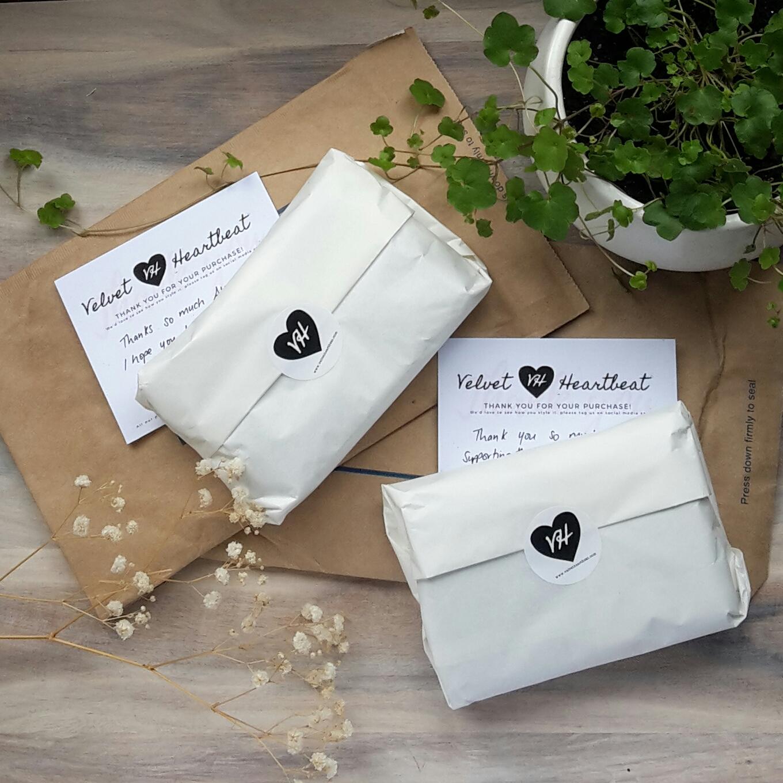 Velvet Heartbeat recyclable packaging