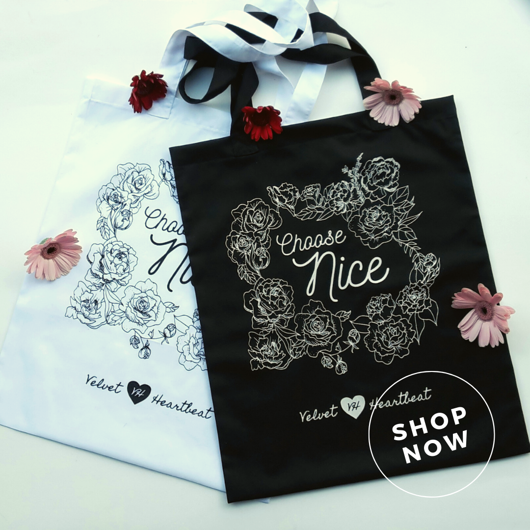 Choose Nice Totes   Spread a sweet message, support survivors of human trafficking, and avoid grabbing a plastic bag with these beautifully printed cotton totes. Lightweight and easy to fold up in your mum's handbag for those impromptu shopping trips!   $33.00