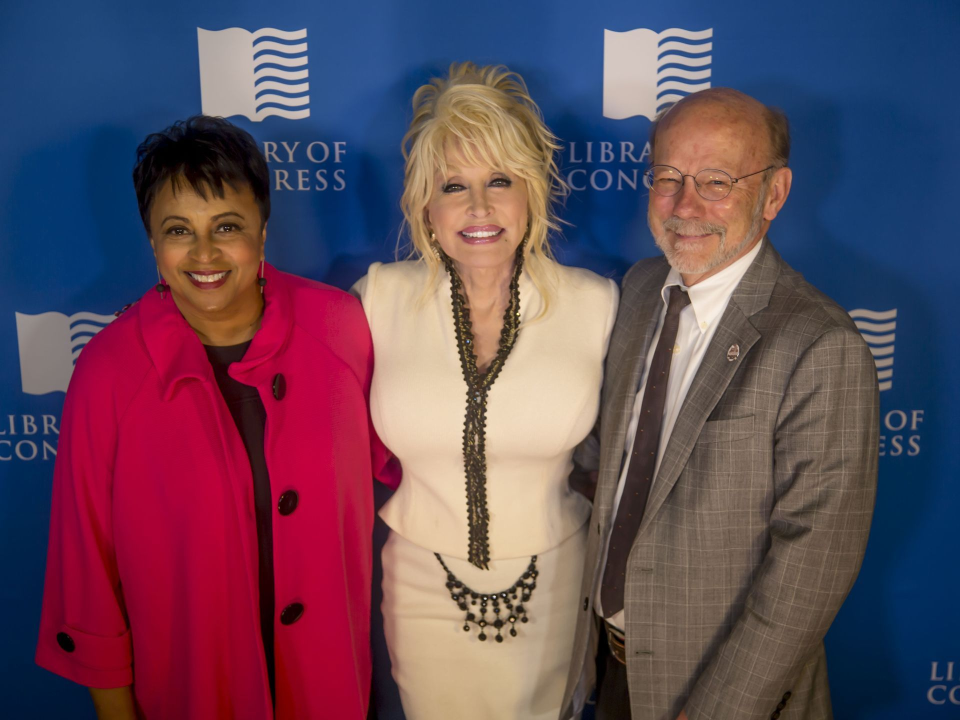 Carla Hayden (Library of Congress), Dolly Parton, and David Dotson (Director of the Dollywood Foundation)